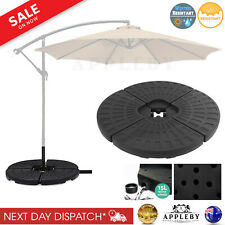 Outdoor Umbrella Stand 4 x Base Pod Plate Sand Water Patio Cantilever Fan Shape