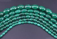 """Grade AAA Natural Malachite Gemstone Oval Rice Beads  4mm 5mm 6mm 8mm 10mm 15.5"""""""