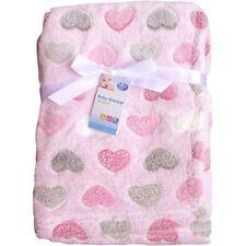 Super Soft & Fluffy Large Patterned Baby Blanket (Pink Hearts)