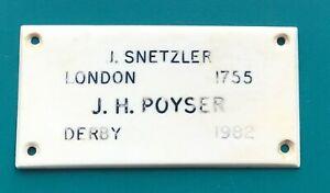 John Snetzler & John Poyser Organ Name Plate Sheffield & Wingerworth Churches