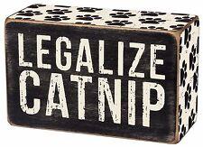 "LEGALIZE CATNIP Wooden Cat Box Sign, 4"" x 2.5"", Primitives by Kathy"