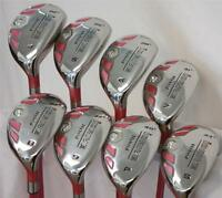 NEW PINK LADIES ALL HYBRID RESCUE LADY HYBRIDS WOMENS FULL SET 4-SW GOLF CLUBS