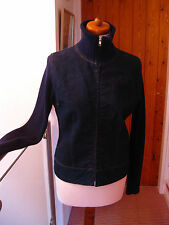 Ladies fitted KANGOL DENIM JACKET coat top khitted roll neck size UK 10-12