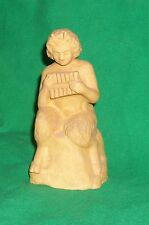 VTG CLAY FIGURAL ART STATUE PAN FLUTE MYTHOLOGY FAUN DAPHNIS POTTERY MYTH LORE