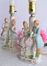 """Vintage Occupied Japan Colonial Couple Lamp Set of 2, 11"""", Blue and Pink, Lovely"""