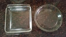 VINTAGE PYREX PIE PLATE 209 AND 222 CLEAR OVENWARE LOT OF 2 CASSEROLE DISH