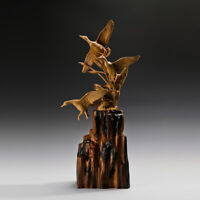 Flying Duck 3 Wild Goose Boxwood Carving Statue