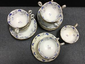 Rococo Victorian Blue And White Flower Pattern No.7338 Large Cups & Saucers X10
