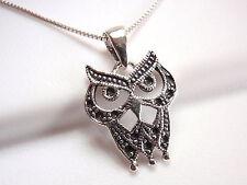 Black Eyed Owl Pendant 925 Sterling Silver Corona Sun Jewelry