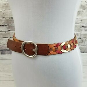 """FOSSIL Size S (30-34) Brown Red Gold Daisy Chain Leather 1.5"""" Wide BOHO Belt"""