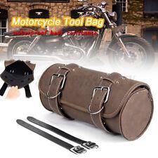 Universal Motorcycle Atv Pu Roll Tool Bag Luggage Saddlebag Barrel Storage Brown