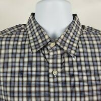 Banana Republic Soft Wash Mens Blue Brown Check Dress Button Shirt Sz Large L