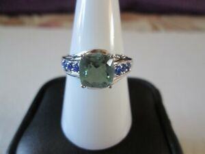 Teal Fluorite and Blue Crystal Platinum bond Ring TGW 2.79 cts.