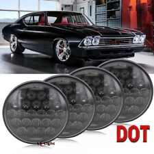 """4PC 5 3/4"""" 5.75"""" Round Projector LED Headlights Sealed Beam Halo Ring Lamp Bulbs"""