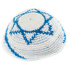 Blue-White Yarmulke Jewish Kippah w/ Star of David Hat Israeli Yamaka Kippa