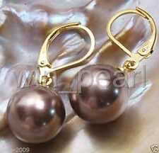12mm Coffee Round South Sea Shell Pearl 14K GP Leverback Dangle Earrings AAA