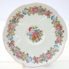 Vintage Shelley Dainty Bone China Floral Pink Edged Saucer