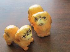 Pair of Pekingese Ceramic Mini Dogs Bradley Bone China Adorable Vintage Japan