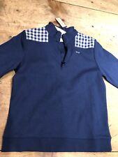 Vineyard Vines Girls Shep Shirt medium 10-12 Whale Gingham 1/4 Zip New $65