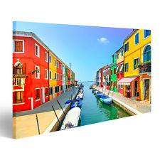 Bild Bilder auf Leinwand Venedig Wahrzeichen, Burano Insel Kanal, bunt EGU-1K