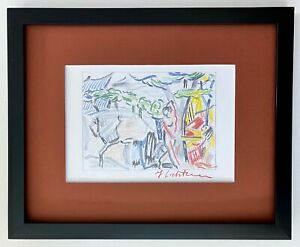 ROY LICHTENSTEIN BEAUTIFUL 1986 SIGNED PRINT FRAMED COVERING AN AREA OF 9X1