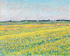 The Plain of Gennevilliers Yellow Fields A1+ by Gustave Caillebotte Canvas Print