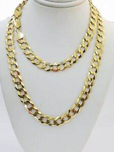 """9mm 14k Yellow Gold Cuban curb Link chain Necklace 20""""-30"""" Real SOLID 14kt Mens"""