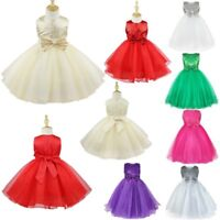 Princess Sequins Flower Girl Dress Pageant Wedding Kids Tulle Costume Ball Gown