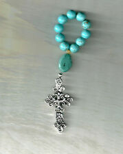 Turquoise Color, Pocket Rosary, Made in the U.S.,  Silver-Plate Cross