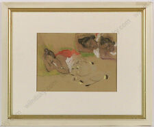 """""""Study of a Sleeping Girl"""", French School, chalk drawing, Late 19th Century"""
