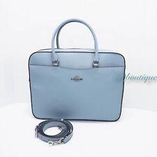 NWT Coach F39022 Women's Laptop Bag Crossbody Briefcase Leather Cornflower Blue
