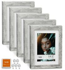 "Cavepop 5x7"" Mat 4x6"" Picture Frame 5 Pieces Set- Rustic Grey"