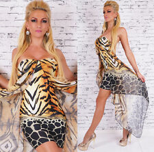 Women's Clubbing Party leo print mini Dress with padded bust One Size UK 8/10