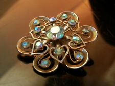 Beautiful Vintage 50's Blue AB Rhinestone Heart Flower XX Detailed Brooch 269a7