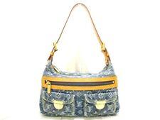 Auth LOUIS VUITTON Baggy PM M95049 Blue Monogram Denim Cotton Leather TH1026