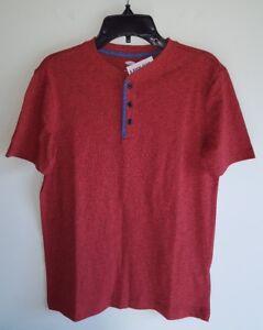 NWT Old Navy Boys 10-12 / 14-16 Short Sleeve Henley Tee Shirt RED-ORANGE #32117