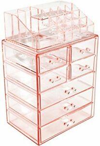 Sorbus Acrylic Cosmetic Makeup and Jewelry Storage Case Display-Pink