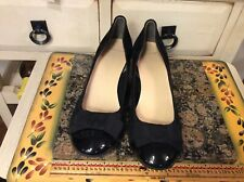 Cole Haan Tali Black  Leather Suede Wedge Bow Slip On Women's Shoe Size 7B