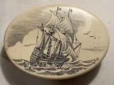 Vintage Signed KOVAGO 1990 Scrimshaw Oval Trinket Box Sailing Ship.