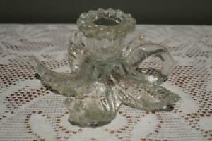 Vintage Murano Leaf Form Squat Candle Holder Chamberstick With Aventurine - Vgc