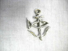 NEW NAUTICAL SAINT JUSTIN FISH & ANCHOR 2 SIDED PEWTER PENDANT ADJ NECKLACE