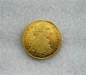 1788 SANTIAGO 8 ESCUDOS CHILE CHARLES III SPANISH GOLD COIN DOUBLOON XF/AU