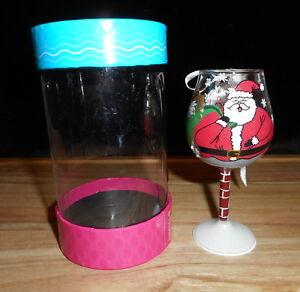 LOLITA MINI WINE GLASS HAND PAINTED CHRISTMAS ORNAMENT STUCK SANTA CLAUS NEW