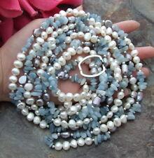 "Aquamarine White Baroque freshwater Pearl  93"" Necklace"