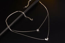 Fashion 925 Sterling Silver Finish Heart AAA Zircon Pendant Necklace 18'' Long
