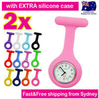 Nurse Watch FOB Pocket Watch for Pouch Bag 2x SILICONE CASES Brooch Pin Battery