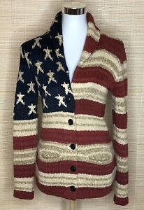 Denim Supply Ralph Lauren Size XS Knit Cardigan USA Flag Red Blue Beige