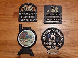 Vintage Pennsylvania Dutch hot pads trivets set of 4