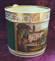 Derby hand painted vintage pre Victorian antique large tankard - Warwick Castle