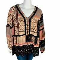 New Gibson Latimer Boho Peasant Blouse Top Sz 3X Patchwork Long Sleeve NWT